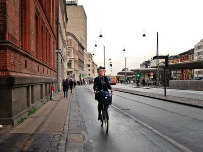Girl cycling in Copenhagen
