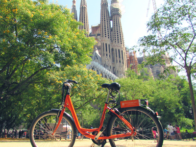 Rental bike in front of Sagrada Familia, Barcelona