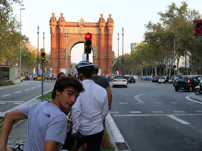 Cyclists riding on bike lanes in Barcelona