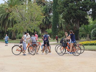 Rental bikes in Barcelona's Ciutadella park