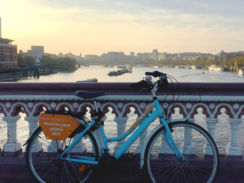 Rental bike in London, overlooking River Thames