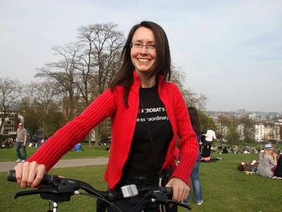 Girl cycling at Primrose Hill