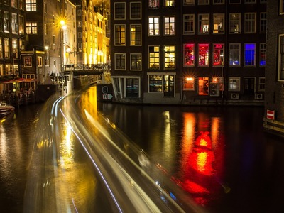 Cycling in Red Light District at night