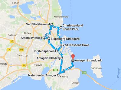 Map of green bike route in Copenhagen